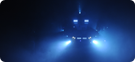 Warthog lights through smoke