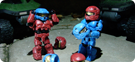 Red and Blue Spartans Mark VI (with extra helmets)
